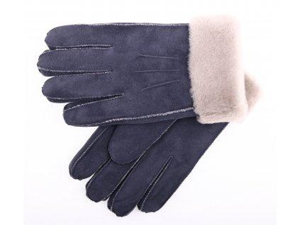 Kožešinové rukavice prstové PR72 tmavě modrý velur vel. M/L