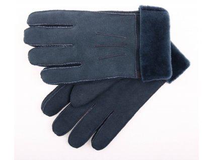 Kožešinové rukavice prstové PR73 petrol velur vel. M/L