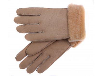 Kožešinové rukavice prstové PR76 světle hnědé napalan vel. S/M
