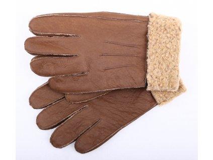 Kožešinové rukavice prstové PR77 středně hnědé napalan vel. S/M
