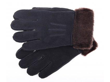 Kožešinové rukavice prstové PR80 černé velur vel. S/M  hnědý melír vlasu kožešiny