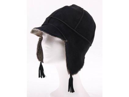 Dětská kožešinová čepice ze španělské odlehčené jehnětiny DH2 černá