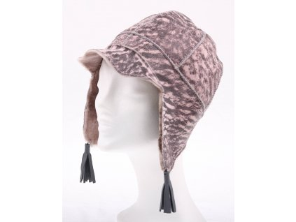 Dětská kožešinová čepice ze španělské odlehčené jehnětiny DH3 růžová patina černá