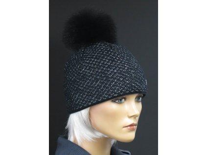 Luxusní pletená čepice s bambulí 632 černá + stříbrný lurex
