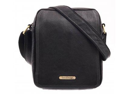 Pánská kožená taška přes rameno Sendi Design CT52005 černá + mosaz