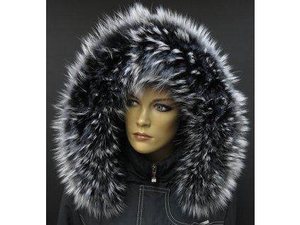 Kožešinový lem límec na kapuci z finského mývalovce 800 BLACK & WHITE