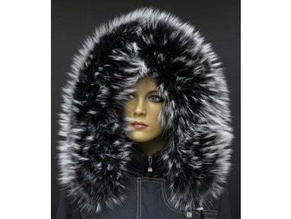 Kožešinový lem límec na kapuci z finského mývalovce 804 BLACK & WHITE