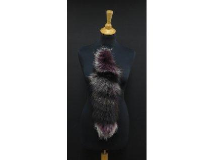 Kožešinový ohon na kabelku ze stříbrné lišky vínový č. 147 délka 47 cm
