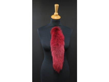 Kožešinový ohon z barvené polární lišky č. 147 - červený 40 cm
