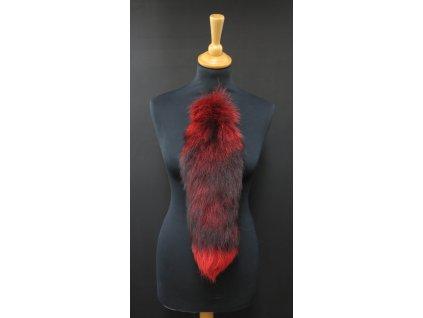 Kožešinový ohon z barvené polární lišky č. 153 - červený 45 cm