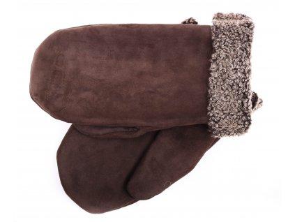 Pánské kožešinové palčáky PAP95 velurové středně hnědé se světlým vlasem kožešiny