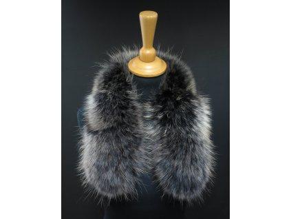 Kožešinový lem na kapuci z finského mývalovce 10075 Black Natur 60 cm KRÁTKÝ