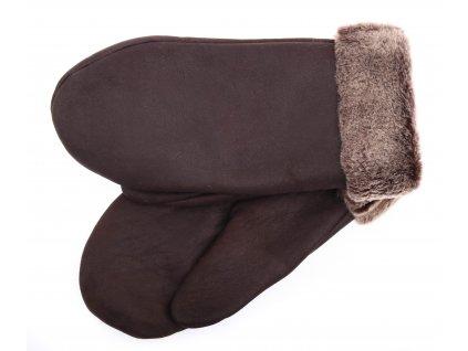 Dámské kožešinové palčáky PA92 hnědé + melírovaný vlas kožešiny španělská jehnětina+ povrch napalan
