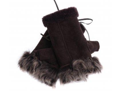 Dámské kožešinové bezprsté rukavice JAPAN PAJ12  tmavě hnědé z toskánská jehnětiny + povrch velur