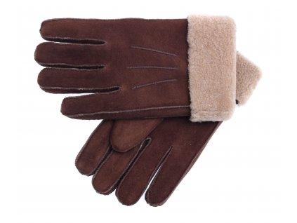 Kožešinové rukavice prstové PR79 hnědé velur vel. M/L melírovaný vlas kožešiny