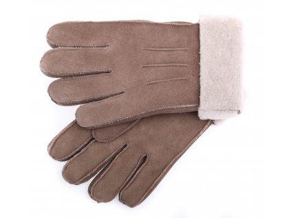 Kožešinové rukavice prstové PRD80 světle hnědé vel. S/M