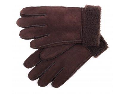 Kožešinové rukavice prstové PRD81 tmavě hnědé vel. S/M