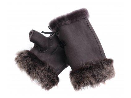 Dámské kožešinové bezprsté rukavice JAPAN PAJ13   hnědé z toskánská jehnětiny + povrch napalan