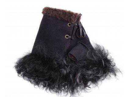 Dámské kožešinové bezprsté rukavice JAPAN PAJ14   černé z toskánská jehnětiny + povrch velur