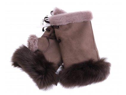 Dámské kožešinové bezprsté rukavice JAPAN PAJ15   světle hnědé z toskánská jehnětiny + povrch velur