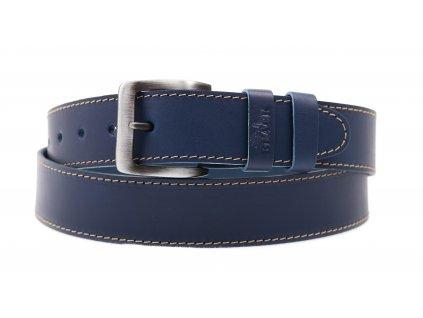 Pánský kožený opasek Black Hand 006-40 tmavě modrý