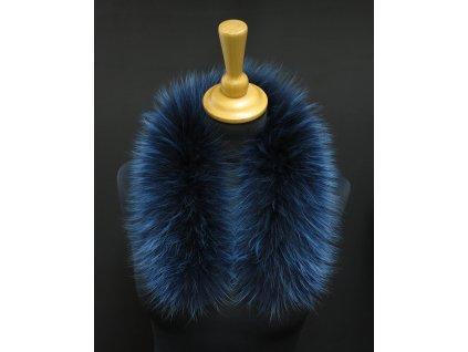 Kožešina lem / límec na kapuci z finského mývalovce 6081 BLUE 60 CM KRÁTKÝ
