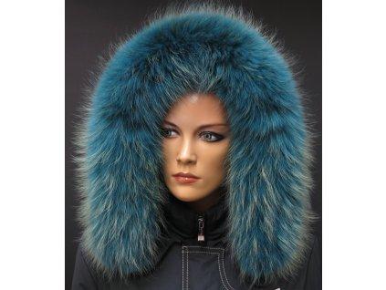 Kožešinový lem na kapuci z finského mývalovce - 2055 PETROL BLUE