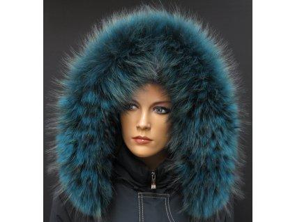 Kožešinový lem na kapuci z finského mývalovce - 2056 PETROL BLUE