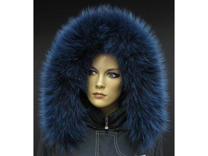 Kožešina lem / límec na kapuci z finského mývalovce 1062 BLUE