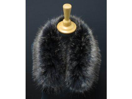 Kožešinový lem na kapuci z finského mývalovce 10077 Black Natur 60 cm KRÁTKÝ