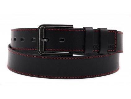 Pánský kožený opasek Black Hand 131-98 černý + červené štepování