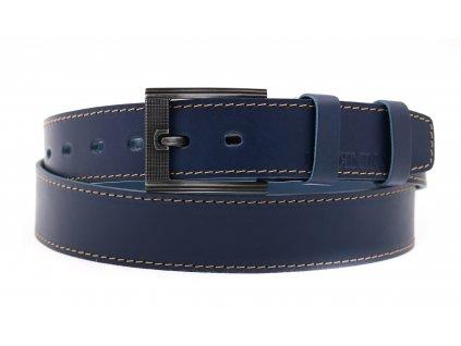 Pánský kožený opasek Black Hand 128-40 tmavě modrý světle prošívaný