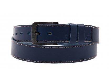 Pánský kožený opasek Black Hand 106-40 tmavě modrý + světlé prošívání