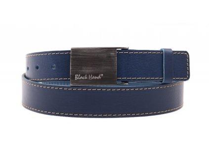 Pánský kožený opasek Black Hand 065-40 tmavě modrý se světlým štepováním