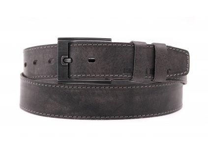 Pánský kožený opasek Black Hand 128-90 šedý vintage + světle šedé štepování