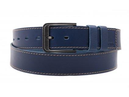 Pánský kožený opasek Black Hand 131-40 tmavě modrý se světlým štepováním