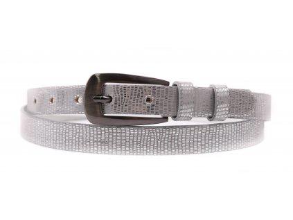 Dámský úzký kožený opasek Penny Belts 2046 stříbrný