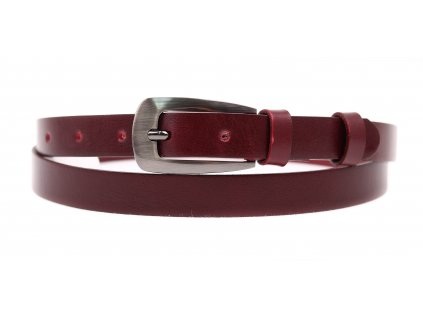 Dámský úzký kožený opasek Penny Belts 2048 vínově červený