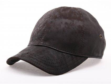 Luxusní kožená kšiltovka KS21 tmavě hnědá broušená skopovice