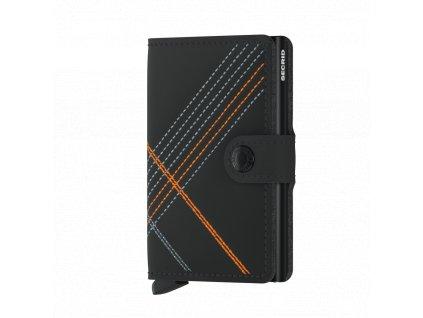 Kožená peněženka SECRID Miniwallet Stitch Linea černá s oranžovým prošíváním