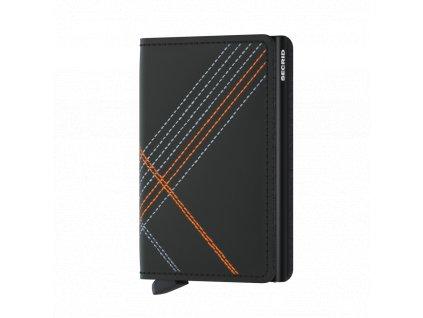 Kožená peněženka SECRID Slimwallet Stitch Linea Orange matná černá