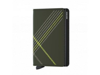 Kožená peněženka SECRID Slimwallet Stitch Linea Lime khaki se zeleným prošíváním
