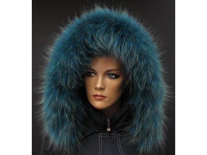 Kožešinový lem na kapuci z finského mývalovce - 2057 PETROL BLUE