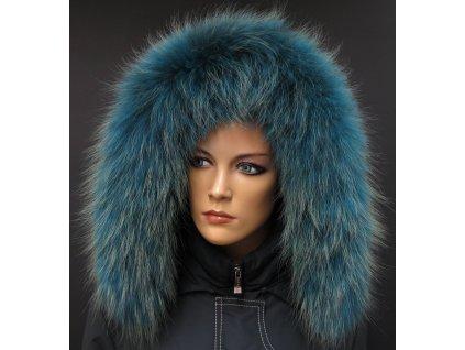 Kožešinový lem na kapuci z finského mývalovce - 2058 PETROL BLUE