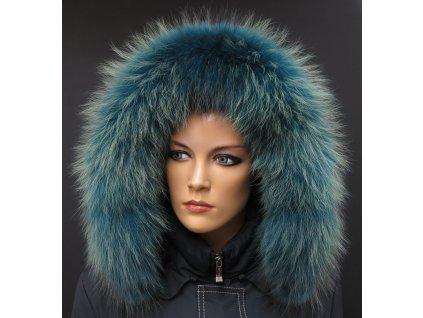 Kožešinový lem na kapuci z finského mývalovce - 2059 PETROL BLUE