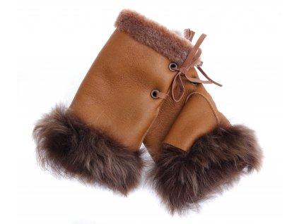 Dámské kožešinové bezprsté rukavice JAPAN PAJ16   tmavě hnědé ze španělské jehnětiny + povrch napalan