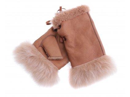 Dámské kožešinové bezprsté rukavice JAPAN PAJ19  béžové  -  povrch napalan