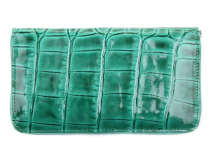 Dámská kožená peněženka penál na zip Vera Pelle  TYRKYS