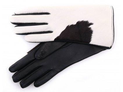 """Dámské kožené rukavice 4013 černé + kožešina výprodej poslední pár 7,5"""""""