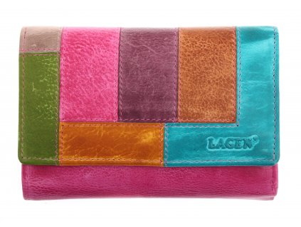 Kožená peněženka Lagen V 17/D multicolor fuchsia